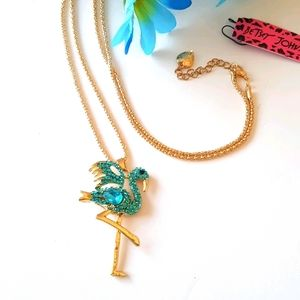 NEW BJ Necklace Flamingo Crystal Pendant Chain